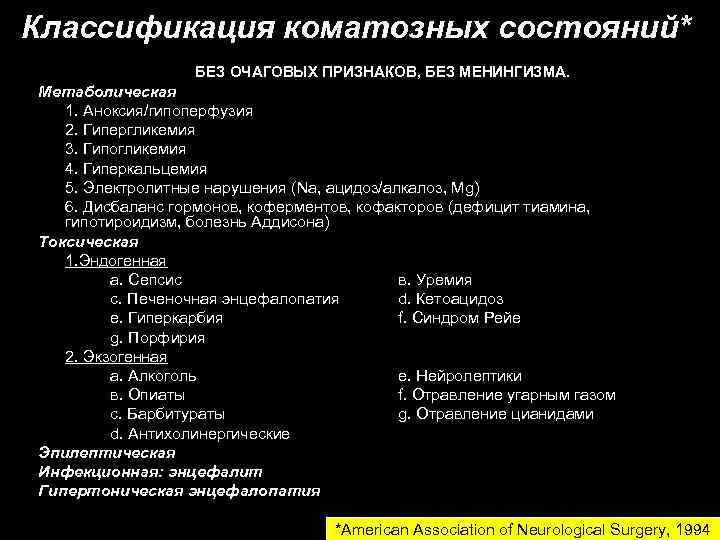 Классификация коматозных состояний*    БЕЗ ОЧАГОВЫХ ПРИЗНАКОВ, БЕЗ МЕНИНГИЗМА. Метаболическая  1.