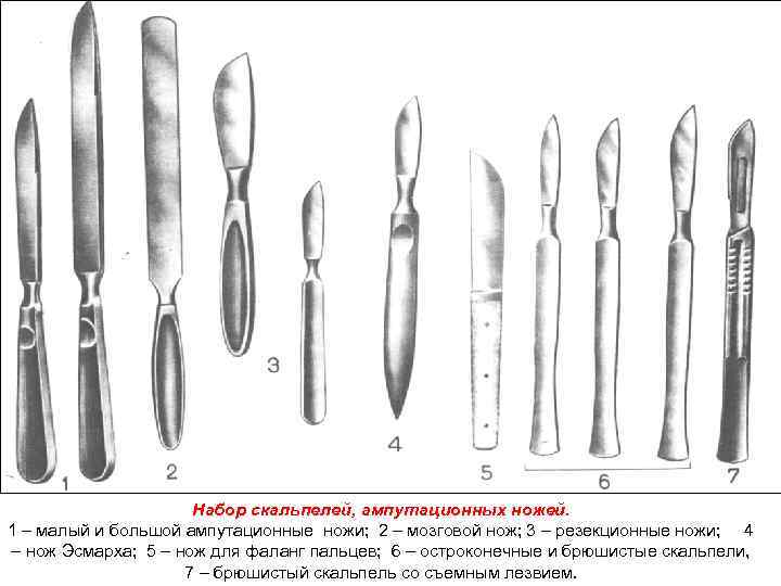Набор скальпелей, ампутационных ножей. 1 – малый и большой