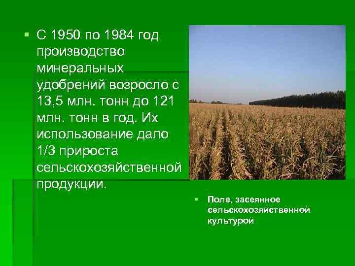 § С 1950 по 1984 год  производство  минеральных  удобрений возросло с