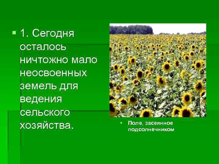 § 1. Сегодня  осталось  ничтожно мало  неосвоенных  земель для