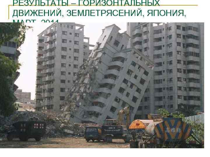 РЕЗУЛЬТАТЫ – ГОРИЗОНТАЛЬНЫХ ДВИЖЕНИЙ, ЗЕМЛЕТРЯСЕНИЙ, ЯПОНИЯ, МАРТ, 2011