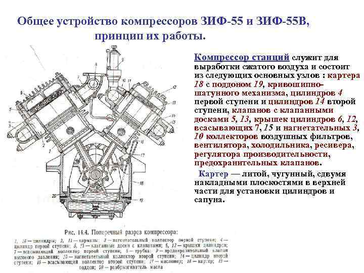 Общее устройство компрессоров ЗИФ 55 и ЗИФ 55 В,   принцип их работы.