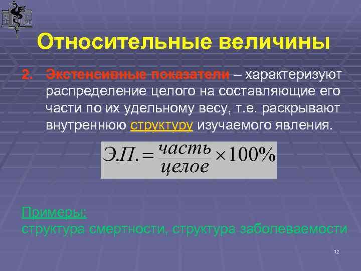 Относительные величины 2. Экстенсивные показатели – характеризуют распределение целого на составляющие его части