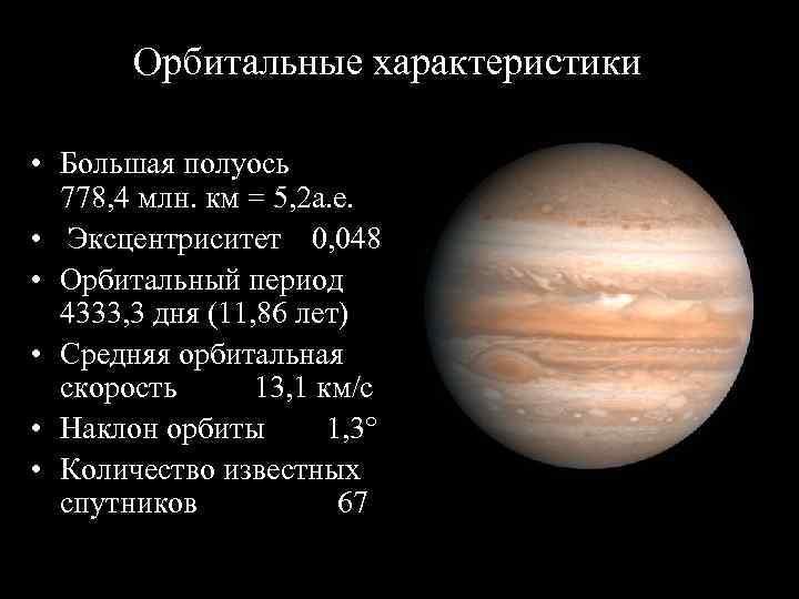 Орбитальные характеристики  • Большая полуось   778, 4 млн.