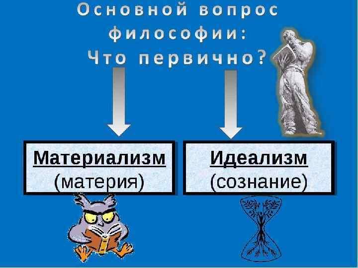 Материализм и идеализм как два основных направления в   философии