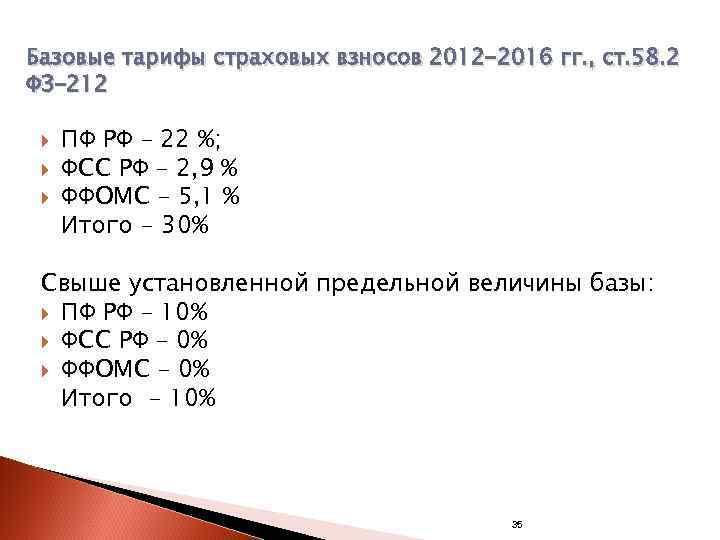 Базовые тарифы страховых взносов 2012 -2016 гг. , ст. 58. 2 ФЗ-212  ПФ