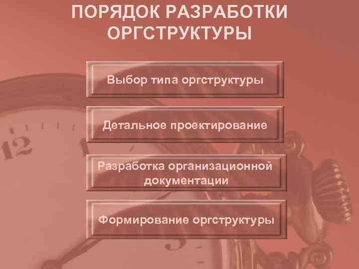 ПОРЯДОК РАЗРАБОТКИ  ОРГСТРУКТУРЫ Выбор типа оргструктуры Детальное проектирование Разработка организационной   документации