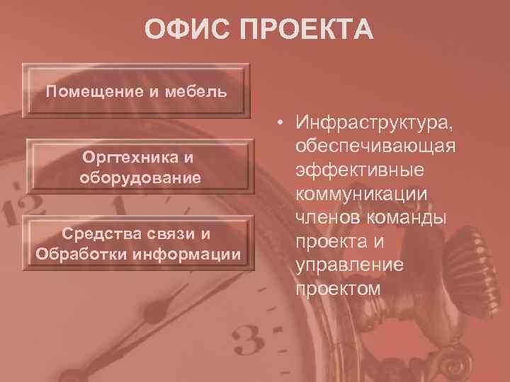 ОФИС ПРОЕКТА Помещение и мебель     • Инфраструктура,