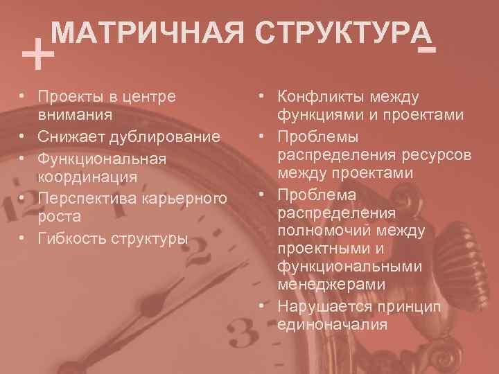 +  МАТРИЧНАЯ СТРУКТУРА     - • Проекты в центре