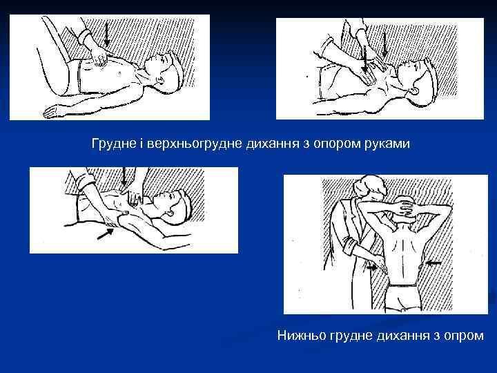 Грудне і верхньогрудне дихання з опором руками      Нижньо грудне