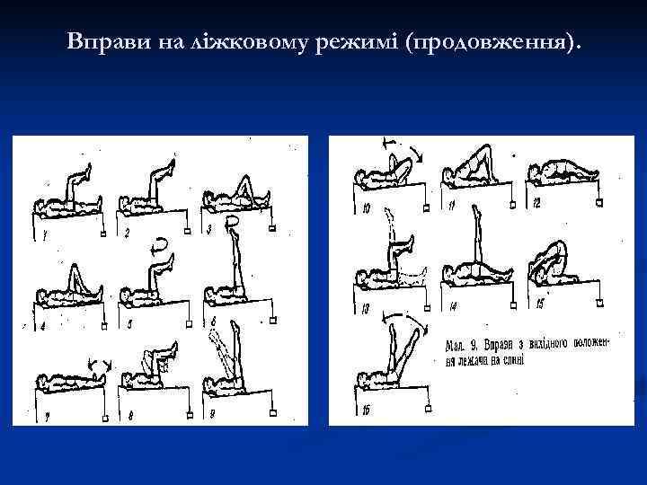 Вправи на ліжковому режимі (продовження).