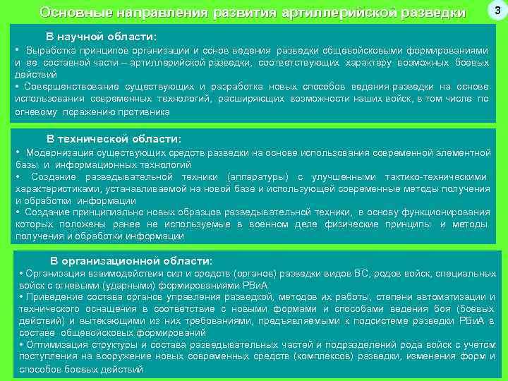 Основные направления развития артиллерийской разведки       3