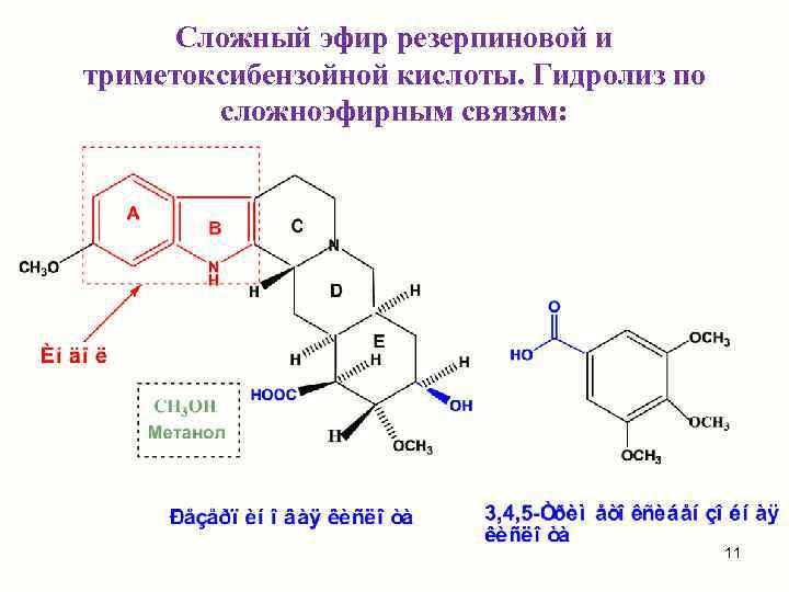 Сложный эфир резерпиновой и триметоксибензойной кислоты. Гидролиз по   сложноэфирным связям: