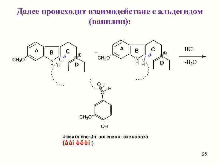 Далее происходит взаимодействие с альдегидом   (ванилин):     25