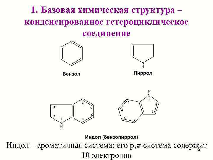1. Базовая химическая структура – конденсированное гетероциклическое   соединение Индол – ароматичная