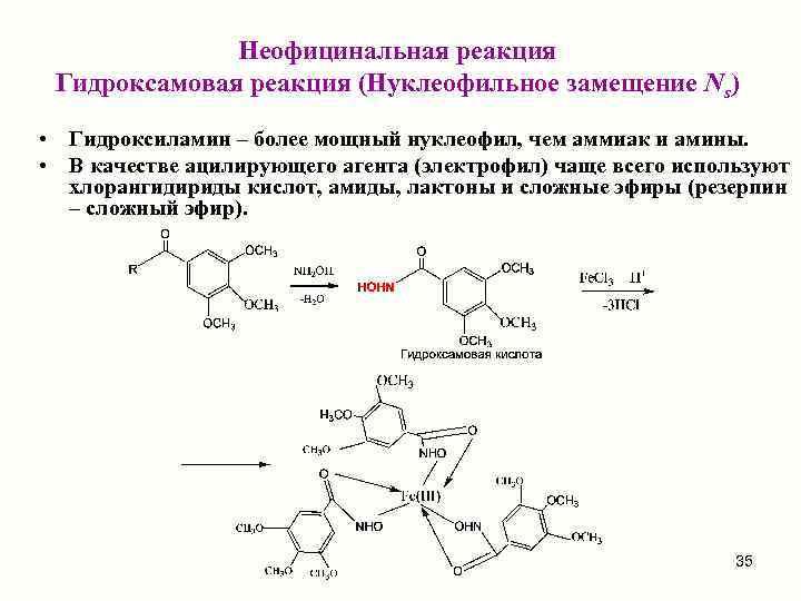 Неофицинальная реакция Гидроксамовая реакция (Нуклеофильное замещение Ns)  • Гидроксиламин –