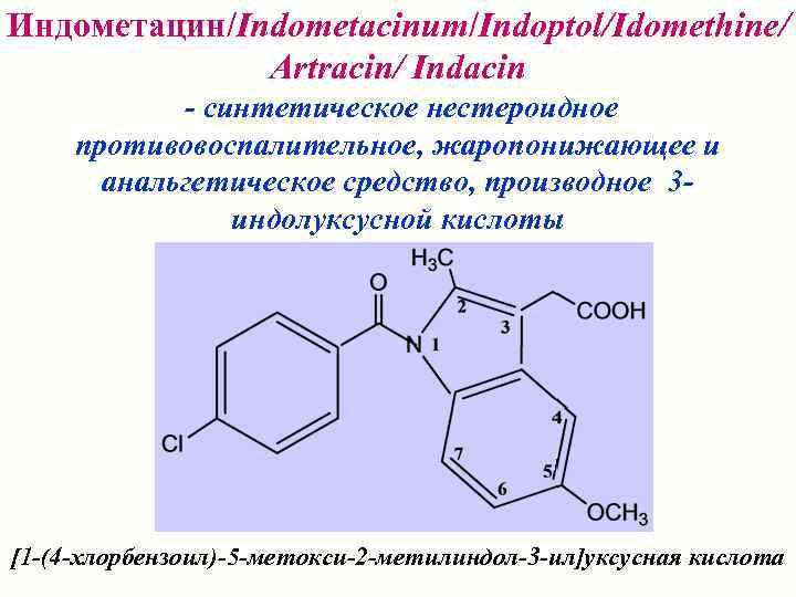 Индометацин/Indometacinum/Indoptol/Idomethine/    Artracin/ Indacin   - синтетическое нестероидное противовоспалительное, жаропонижающее и