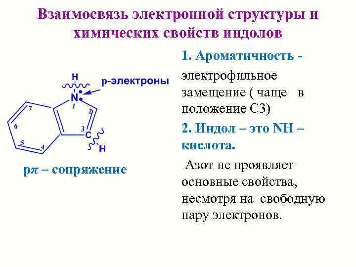 Взаимосвязь электронной структуры и  химических свойств индолов    1. Ароматичность