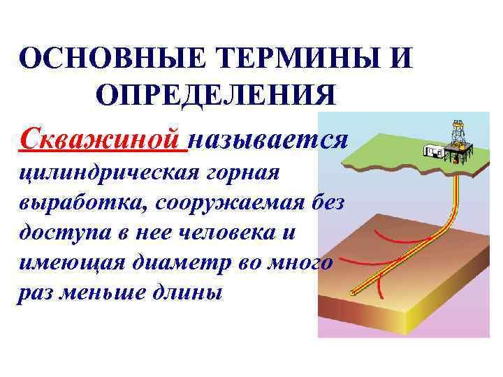 ОСНОВНЫЕ ТЕРМИНЫ И ОПРЕДЕЛЕНИЯ Скважиной называется цилиндрическая горная выработка, сооружаемая без доступа в нее