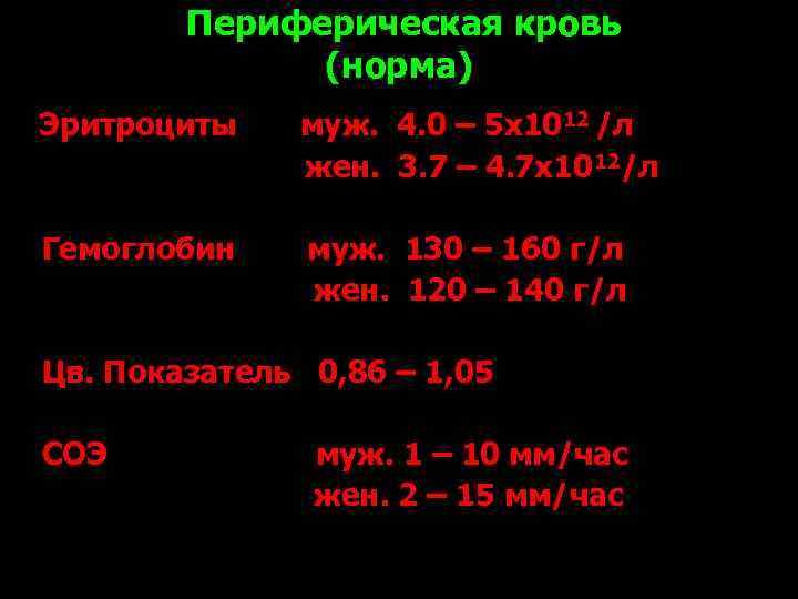 Периферическая кровь    (норма) Эритроциты  муж. 4. 0 –
