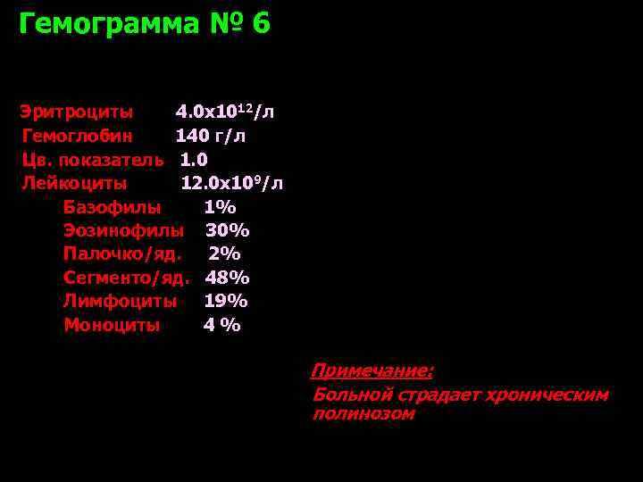 Гемограмма № 6 Эритроциты 4. 0 х1012/л Гемоглобин 140 г/л Цв. показатель 1. 0
