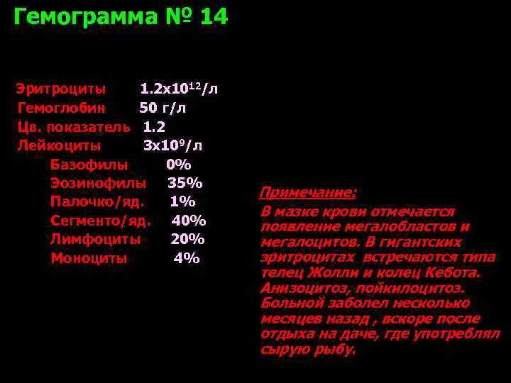 Гемограмма № 14  Эритроциты 1. 2 х1012/л Гемоглобин 50 г/л Цв. показатель 1.