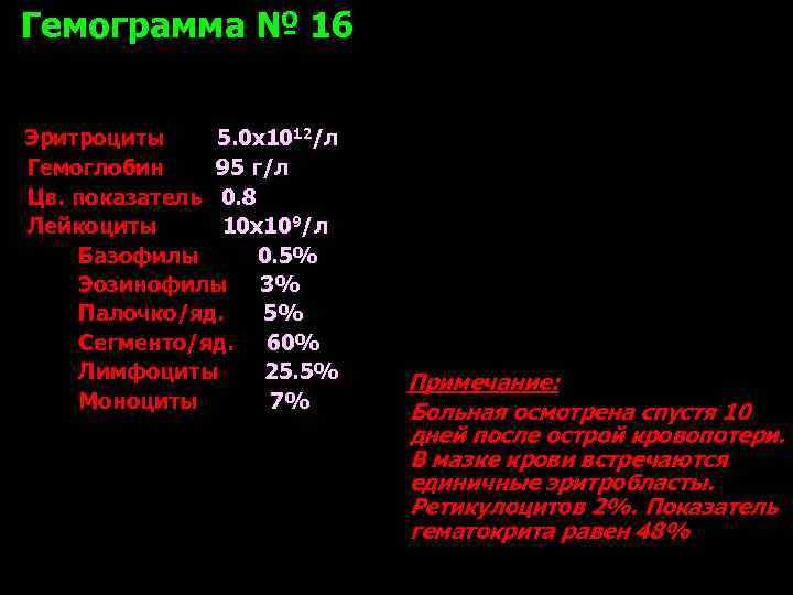 Гемограмма № 16  Эритроциты 5. 0 х1012/л Гемоглобин 95 г/л Цв. показатель 0.
