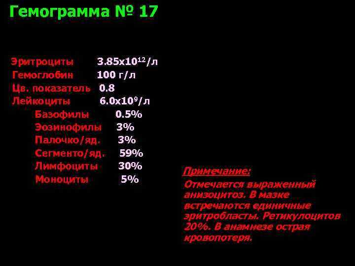 Гемограмма № 17  Эритроциты 3. 85 х1012/л Гемоглобин 100 г/л Цв. показатель 0.