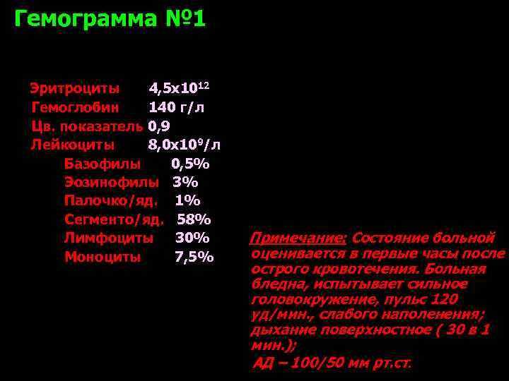 Гемограмма № 1  Эритроциты 4, 5 х1012 Гемоглобин 140 г/л Цв. показатель 0,