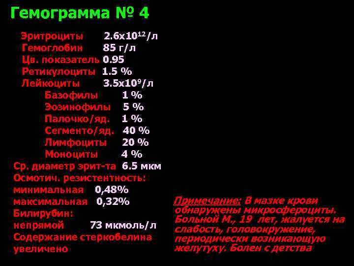 Гемограмма № 4 Эритроциты 2. 6 х1012/л  Гемоглобин 85 г/л  Цв. показатель