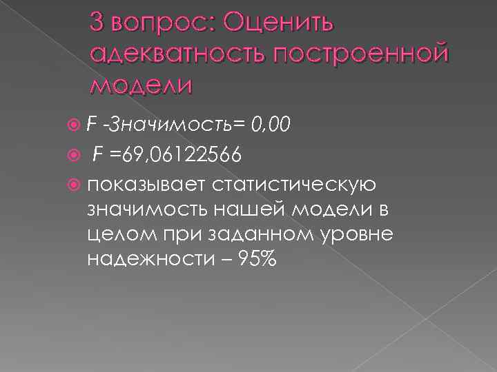 3 вопрос: Оценить адекватность построенной модели  F -Значимость= 0, 00