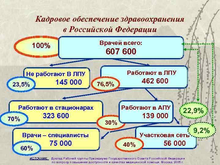 Кадровое обеспечение здравоохранения    в Российской Федерации   100%