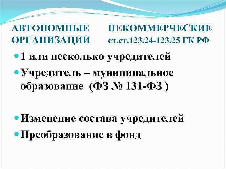АВТОНОМНЫЕ  НЕКОММЕРЧЕСКИЕ ОРГАНИЗАЦИИ ст. 123. 24 -123. 25 ГК РФ  1 или