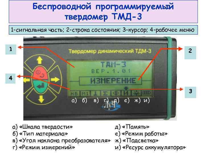 Беспроводной программируемый   твердомер ТМД-3 1 -сигнальная часть; 2 -строка