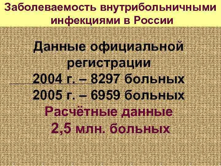 Заболеваемость внутрибольничными  инфекциями в России Данные официальной   регистрации 2004 г. –