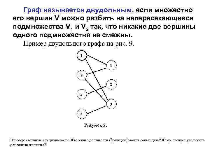 Граф называется двудольным, если множество его вершин V можно разбить на непересекающиеся