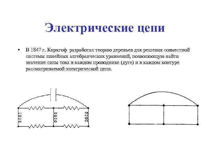 Электрические цепи •  В 1847 г. Кирхгоф разработал теорию деревьев для
