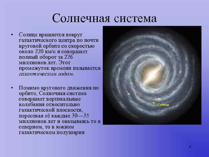 Солнечная система • Солнце вращается вокруг  галактического центра по