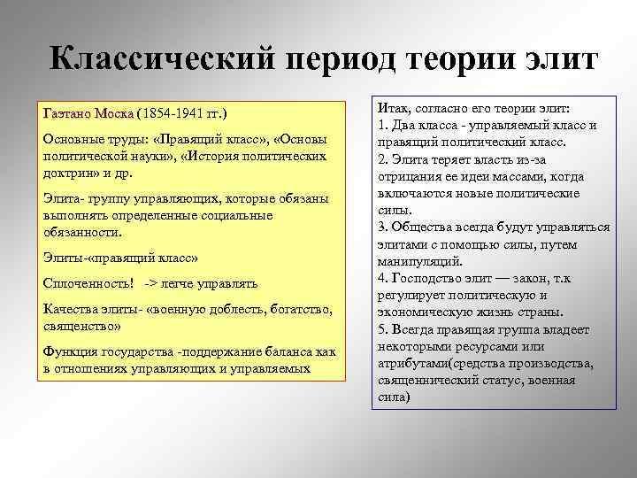 Классический период теории элит Гаэтано Моска (1854 -1941 гг. )    Итак,