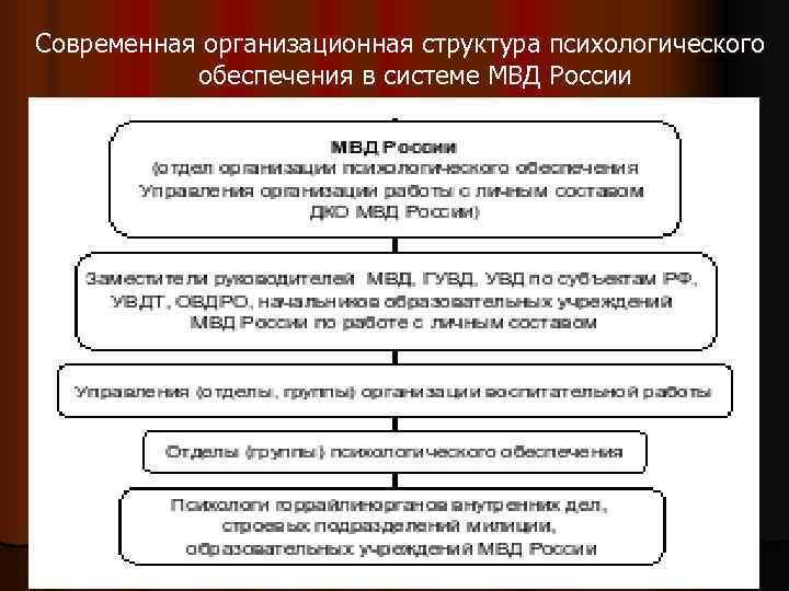 Современная организационная структура психологического  обеспечения в системе МВД России