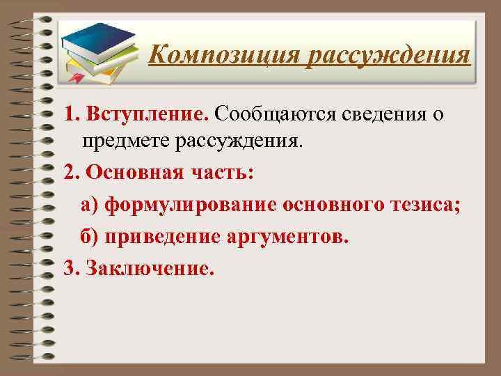 Композиция рассуждения 1. Вступление. Сообщаются сведения о  предмете рассуждения. 2. Основная