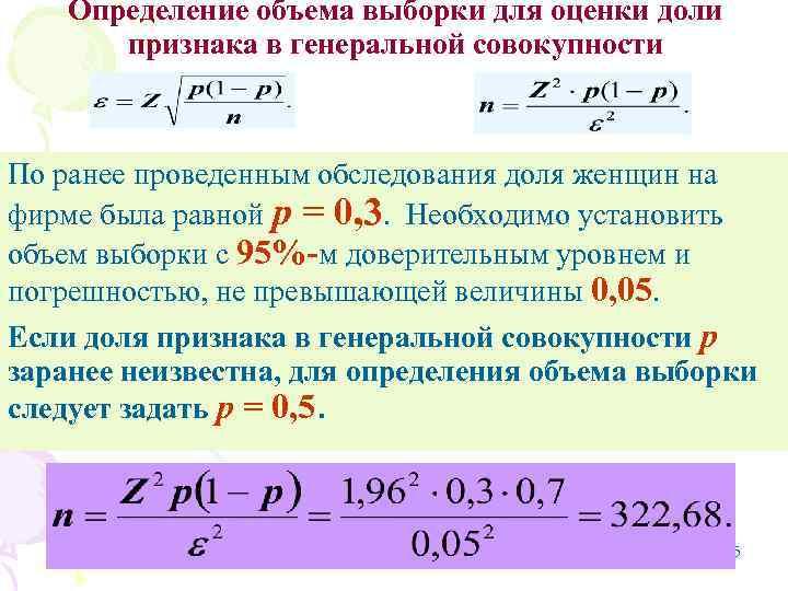 Определение объема выборки для оценки доли  признака в генеральной совокупности