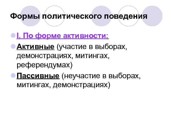 Формы политического поведения l I. По форме активности: l Активные (участие в выборах,