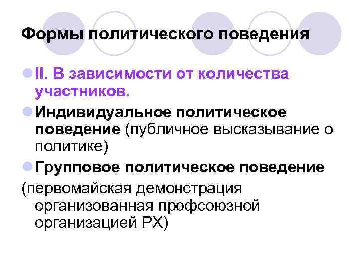 Формы политического поведения l II. В зависимости от количества  участников. l Индивидуальное политическое