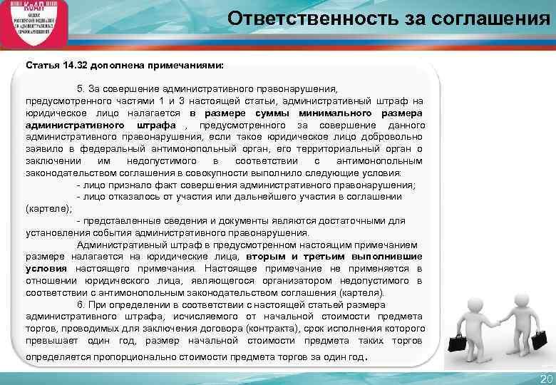 Ответственность за соглашения Статья 14. 32 дополнена
