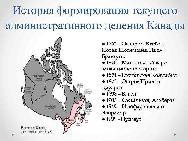 История формирования текущего административного деления Канады   ● 1867 – Онтарио, Квебек,
