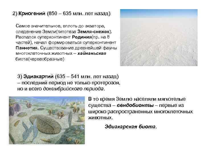 2) Криогений (850 – 635 млн. лет назад)  Самое значительное, вплоть до экватора,