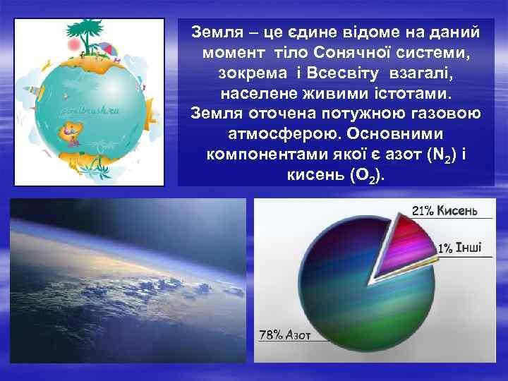 Земля – це єдине відоме на даний момент тіло Сонячної системи, зокрема і Всесвіту