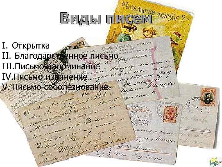 Виды писем I. Открытка II. Благодарственное письмо III. Письмо-напоминание IV. Письмо-извинение