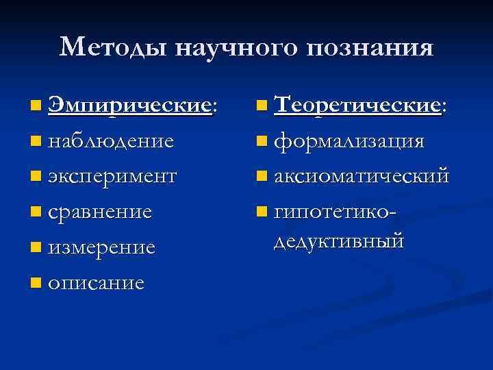 Методы научного познания n Эмпирические:  n Теоретические:  n наблюдение n формализация
